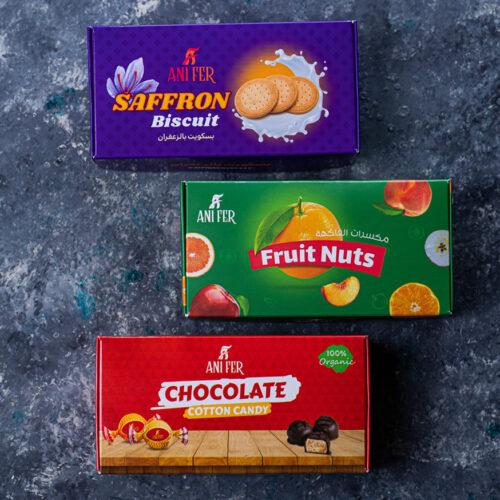 طراحی بسته بندی شکلات ، بیسکوییت و میوه خشک